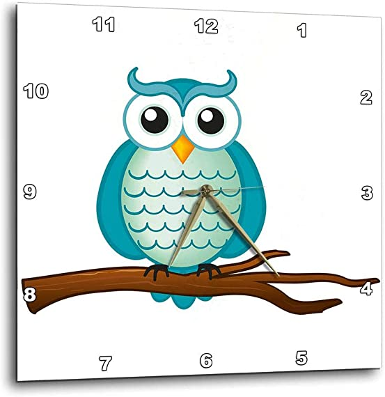 3dRose dpp_165564_1 Aqua Wise Owl-Wall Clock, 10 by 10-Inch