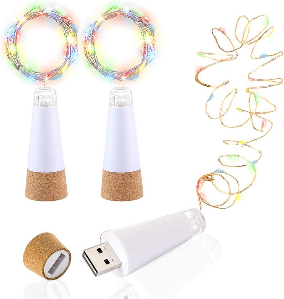 LED Botella Luces Corcho, Multicolor Cambio de color, Alimentado por USB Recargable, 1.5M 15 LED Alambre de cobre Cuerda Ligero para la habitación, Boda, Navidad, Partido Decoración (3 Piezas)
