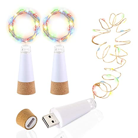LED Botella Luces Corcho, Multicolor Cambio de color, Alimentado por USB Recargable, 1.5