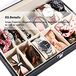 Ohuhu 12-Slot Leather Watch Box / Jewelry Display Storage Organizer Box