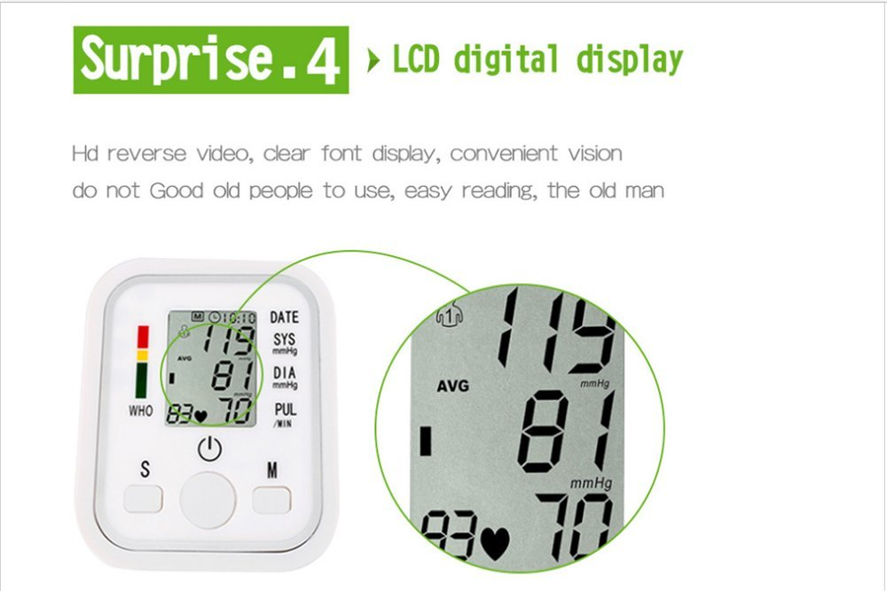 Amazon.com: Automatic Digital Measure Blood Sphygmometer Blood Pressure Monitor Portable and Perfect For Home Use - Electronic Meter Measures Pulse ...