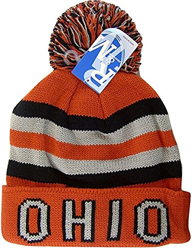 , Knitted Winter Toboggan Hat Cap with Pom Pom (Red with Ohio on Cuff) (Flyers Mini Hockey Helmet)