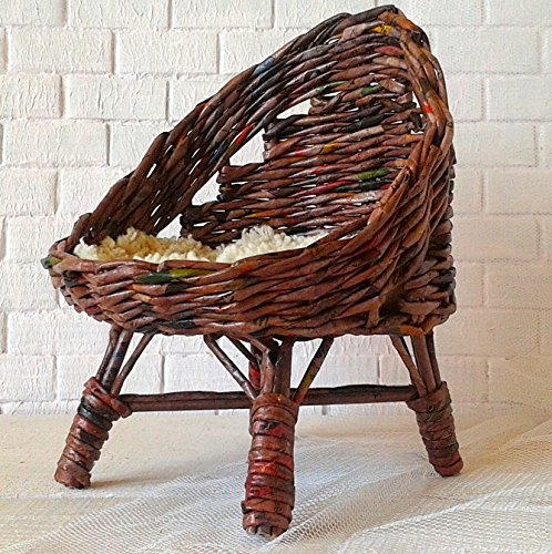 Chair for 18-inch size dolls. Handmade Wicker Furniture Seat for 1:3 scale American Girl, BJD SD (Furniture Doll Handmade)