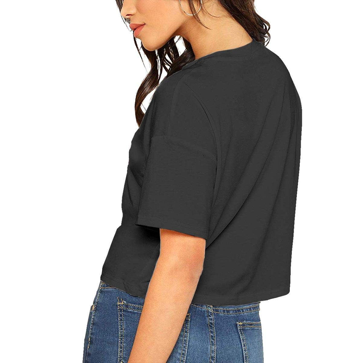 Qmad Womens Beautiful Cake Crop Top T-Shirts Freestyle Short Style Design Casual Relaxed Short-Sleeve Comfortable Tee Top Black