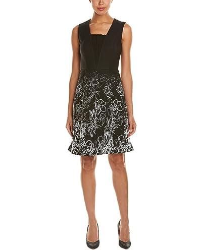 Elie Tahari Womens Lindsay Printed Textured Wear to Work Dress
