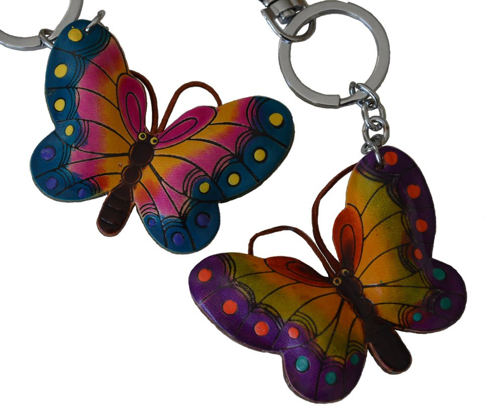 Leather Key-chain/bag-charm, A Pair(2 Pieces) of Lovely Butterfly Shape,More Color (Blue and Purple)