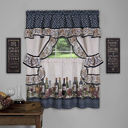 Achim Home Furnishings Chateau Window Curtain Cottage Set, 57 inch x 36 inch, Navy, 57 X 36,