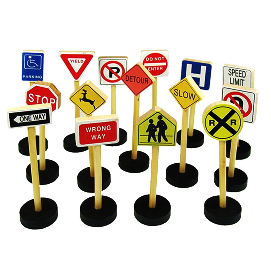 MonkeyJack 15 Pieces WOODEN TRAFFIC ROAD SIGNS Educational Toys Kids Pretend Play Toys