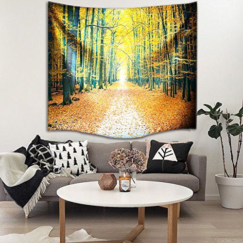 IMEI Golden Forest Tapestry Wall Hanging by, Nature Yellow Autumn Time Fabric Wall Decor Kids Girls Bed Throw Sofa Cover Living Room Dorm (Golden Woods with Leaves, 80 X 60 Inch) by IMEI (Image #5)