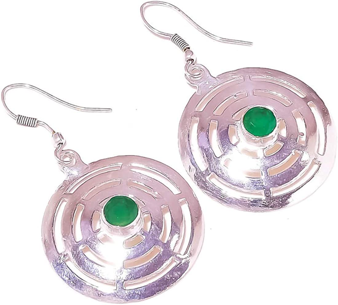 Pendientes colgantes de tres círculos chapados en plata con piedra preciosa redonda de ónix verde hechos a mano