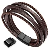 murtoo Leather Bracelet For Man Magnetic-Clasp Cowhide Braided Multi-layer Wrap Mens Bracelet, (Brown New,8.7'')