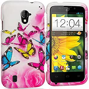 Accessory Planet(TM) Pink Colorful Butterfly 2D Hard Snap-On Design Rubberized Case Cover Accessory for ZTE Majesty Z796C
