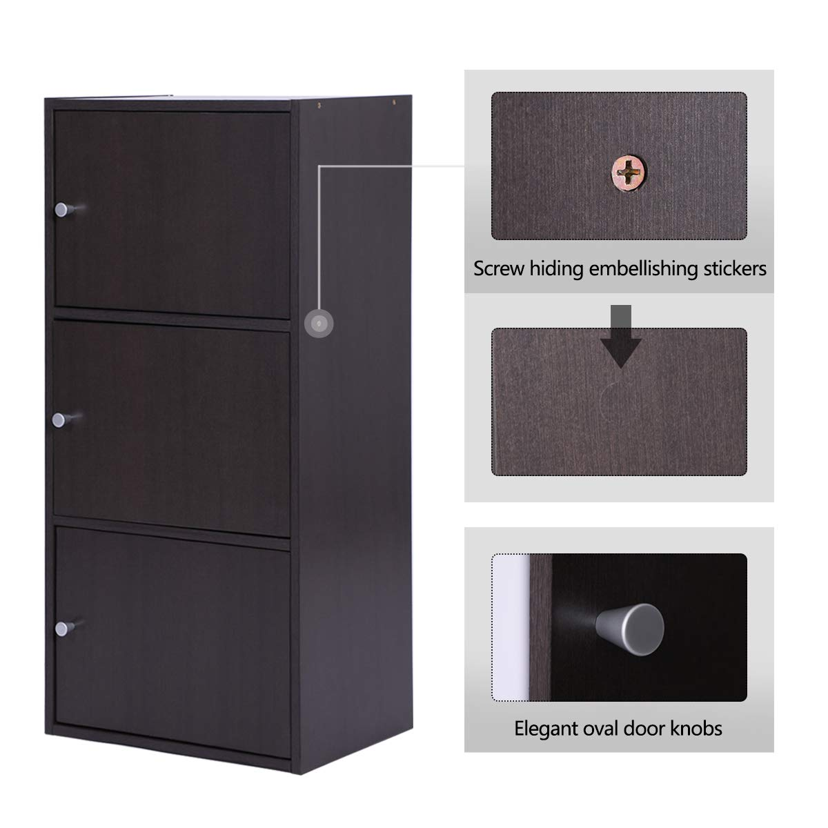 Multifunctional Storage-Cabinet with 3 Magnetic Doors Classic Modern Bookcase Home Office Vertical File Cabinets, Espresso Brown-CAS011 by Coavas (Image #2)