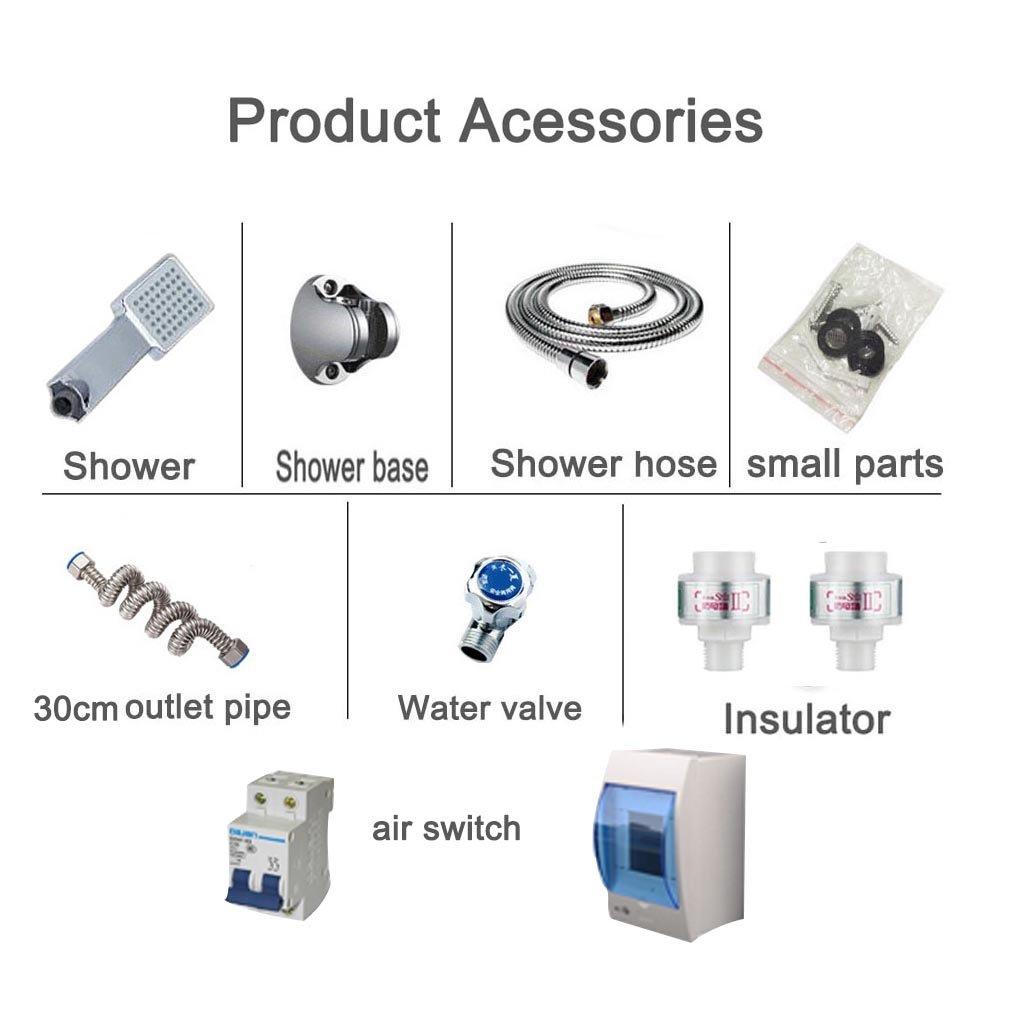 Calentador de agua eléctrico instantáneo 7000w 220v calentadores de agua eléctricos de la ducha Suministro de agua fría y caliente adecuado para la familia ...