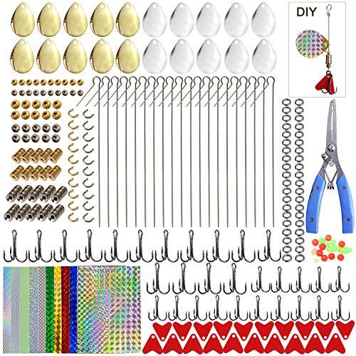 Fishing Lures DIY Kit - 261pcs Fishing Spoon Rig Treble Hook Spinner Blade Bait Split Ring Holographic Adhesive Film Pliers Scissor