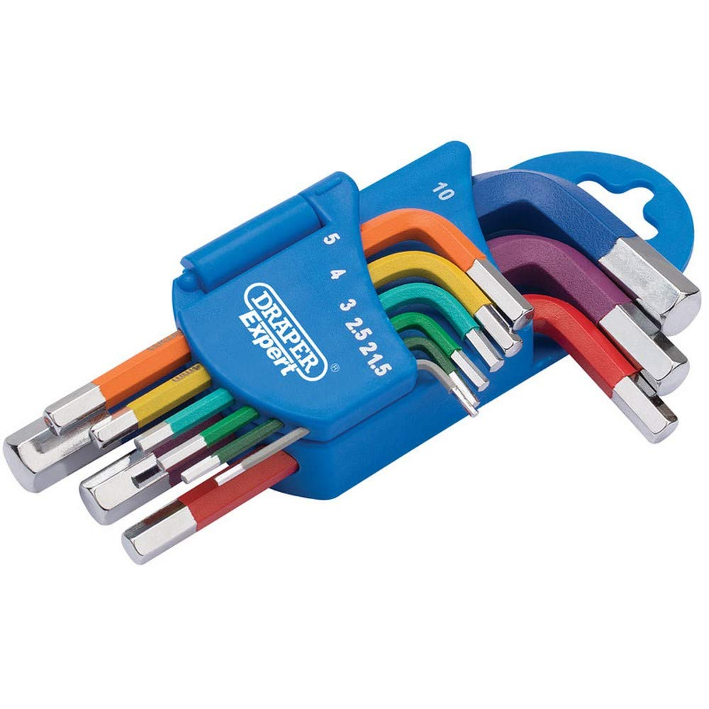 Draper 66126 Metric Coloured Short Arm Hexagon 9 Piece Key Set