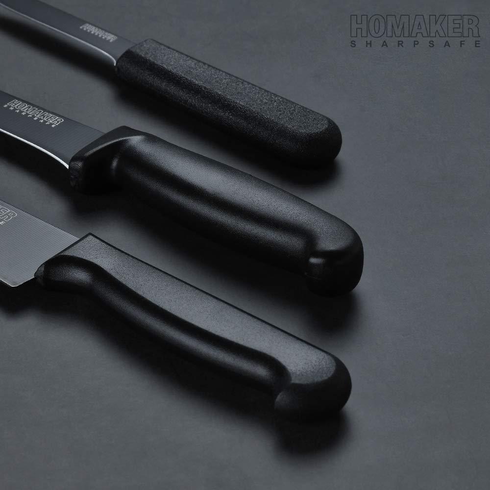 Homaker Knife Set, Black Kitchen Knife Set with High Carbon Stainless Steel Ultra Sharp Chef Knives Set, Bread Knife, Boning Knife, Paring Knife by HOMAKER (Image #4)
