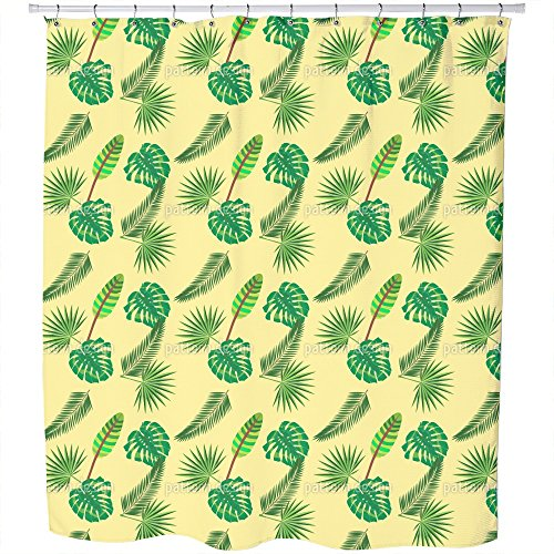 Uneekee Tropical Leaf Jungle Shower Curtain: Large Waterproof Luxurious Bathroom Design Woven Fabric by uneekee