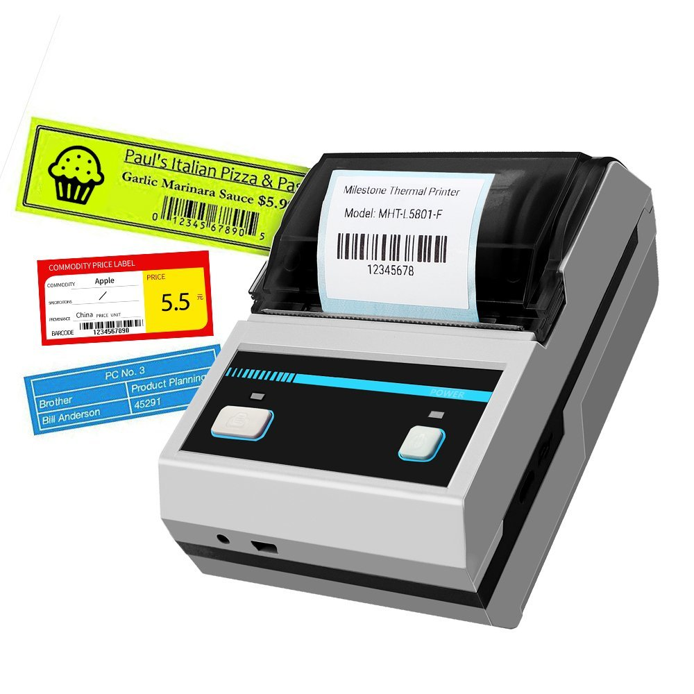 Thermal Printer,2inch Barcode Label Printer Portable Thermal Bluetooth Printer with Rechargeable Battery for Restaurant,Retail,Small Business and More Labels (58MM Label Printer)