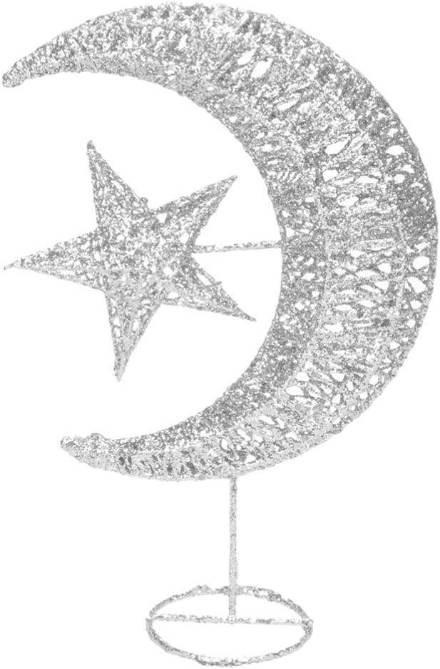 Uonlytech Iron Moon and Star Ornament Glitter Christmas Table Decoration Christmas Tree Decoration Wedding Birthday Holiday Party Supply 20cm (Silver)