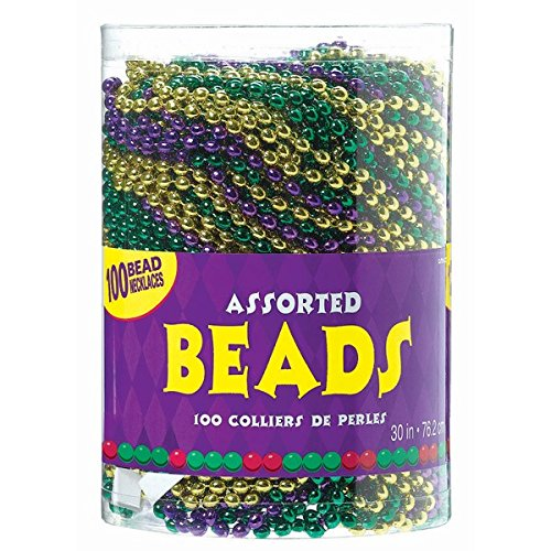 Amscan Vibrant Mardi Gras Party Assorted Bead Necklaces (100 Piece), 30