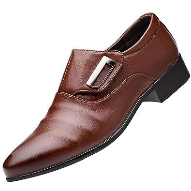 Ansenesna Schuhe Herren Business Braun Leder Mit Absatz Elegant