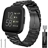 Kmasic Compatible Fitbit Versa/Fitbit Versa 2 Bands, Stainless Steel Metal Replacement Bracelet Strap Band for Fitbit…