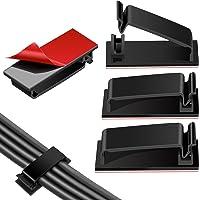 Clips de gestión de cables autoadhesivos, organizadores de cables con soporte de cable 60 piezas (negro)