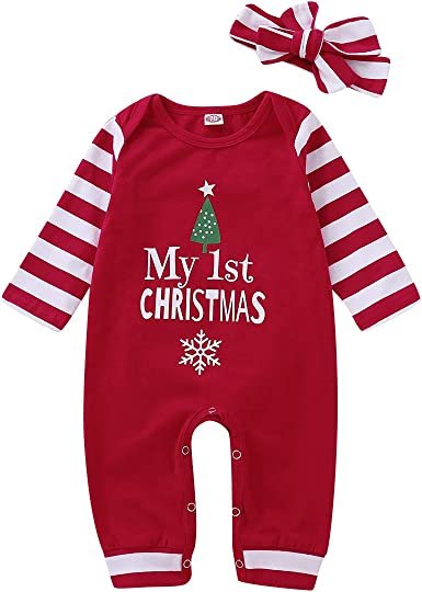 "/""My First Christmas/"" Tree Black 1-Piece w//3-Snap Baby Creeper"