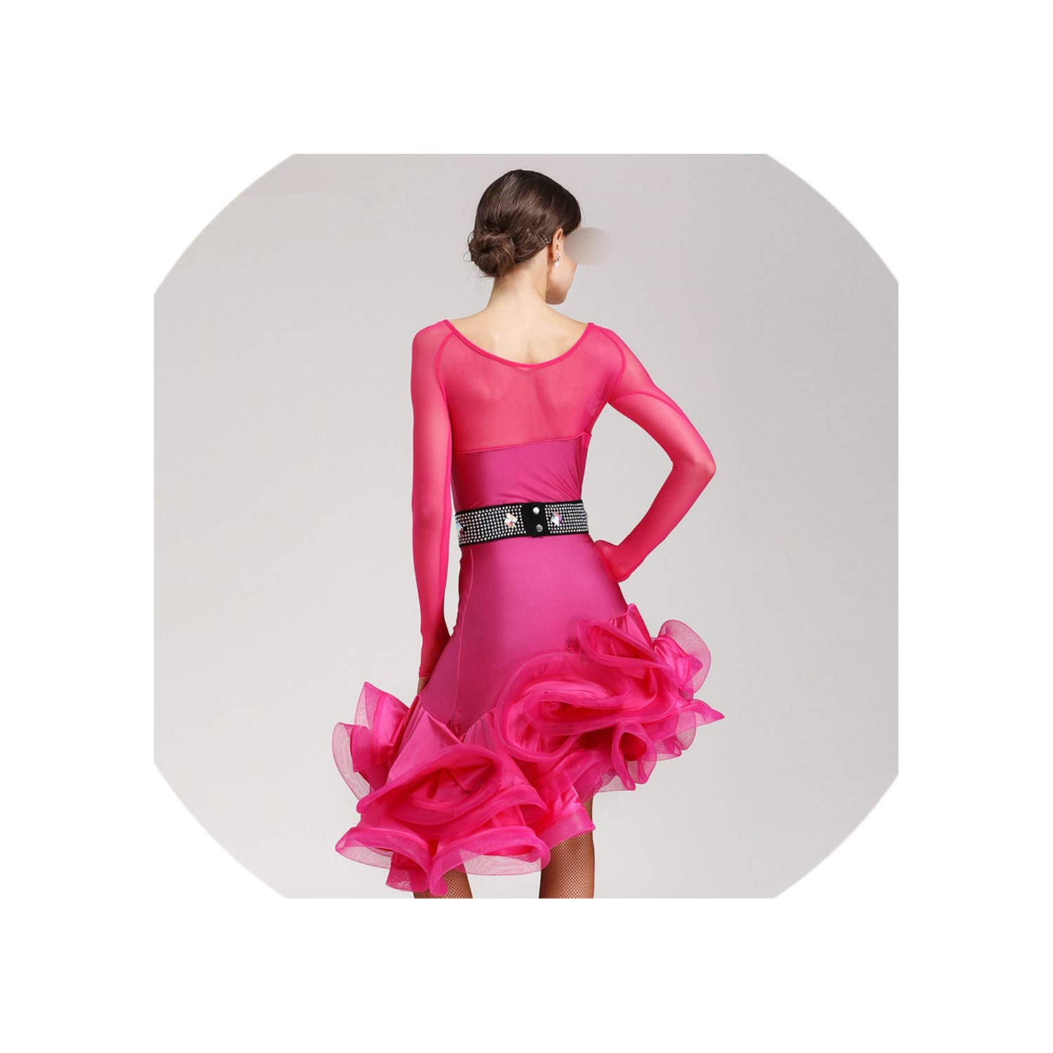 Long Sleeve Latin Dance Competition Dresses Women Samba Rumba Tango Latin Dance Dress Latin Dance,Rose Red,XL by Colourful Day Dance Dress