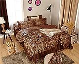 Zhiyuan Leopard Print Silky Satin Duvet Cover Flat Sheet Pillowcases Set Twin Size