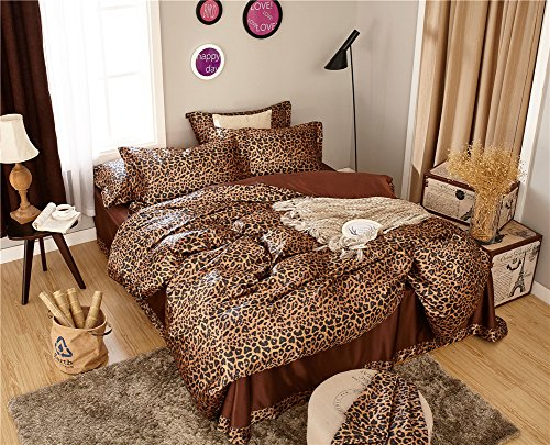 Zhiyuan Leopard Print Silky Satin Duvet Cover Flat Sheet Pillowcases Set King Size