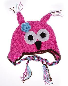 Bigood Bonnet Chouette Hibou Chapeaux Crochet Tricot Enfant Bébé 6~24 Mois  Rose Rouge fba065f8138