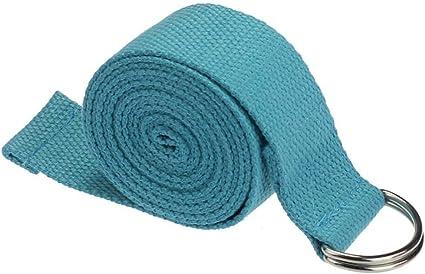 Cinturón de Yoga de 6 pies, Ejercicio Duradero de algodón, cinturón de Estiramiento con Hebilla de Metal Ajustable con Anillo en D para Entrenamiento físico General y Terapia física: Amazon.es: Deportes y