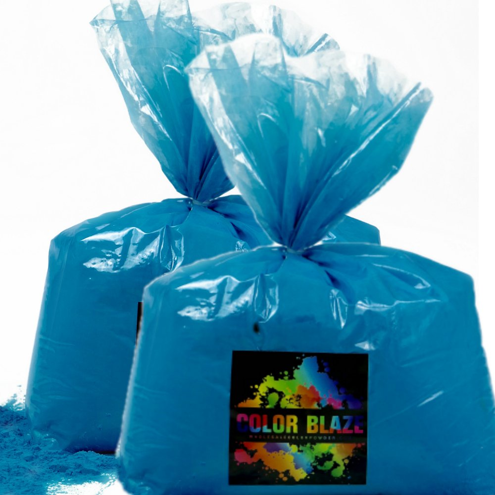 Color Powder Blue 50lbs - (Two 25lb bags) Ideal for color run events, youth group color wars, Holi events and more! Purple, Red, Green, Yellow, Orange, Pink and Teal Available