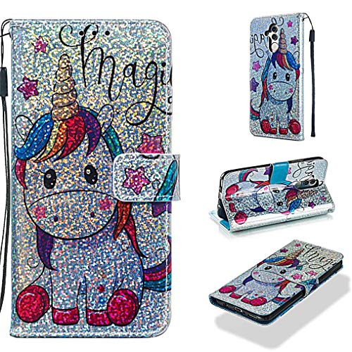 Case for Huawei Mate 20 Lite,Durable PU Leather Glitter Wallet Case Inner Soft TPU Bumper Shock Absorbent with Magnetic Closure Card Holder Wrist Strap Compatible with Huawei Mate 20 Lite -Horse (Only Fools And Horses Van For Sale)