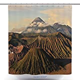 Custom Shower Curtains Volcano Mountain Landscape Of Mount Bromo At Indonesia_188076101 Polyester Bathroom Shower Curtain Set With Hooks