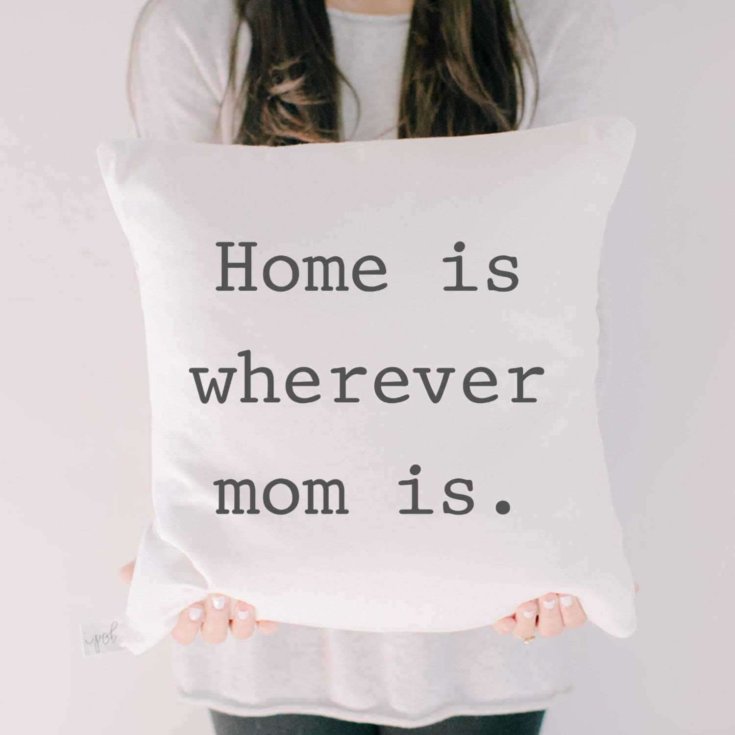 Flowershave357 Sale 18 White Throw Pillow Home is Wherever Mom is Black Housewarming Gift Engagement Present