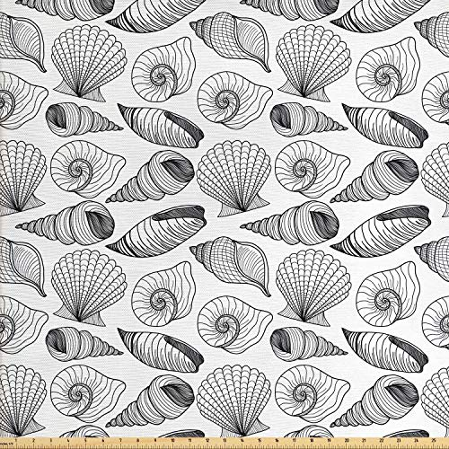 Lunarable Seashells Fabric by The Yard, Monochrome Auger Button and Scallop Varieties of Ocean Wildlife Elements, Decorative Fabric for Upholstery and Home Accents, Black and ()
