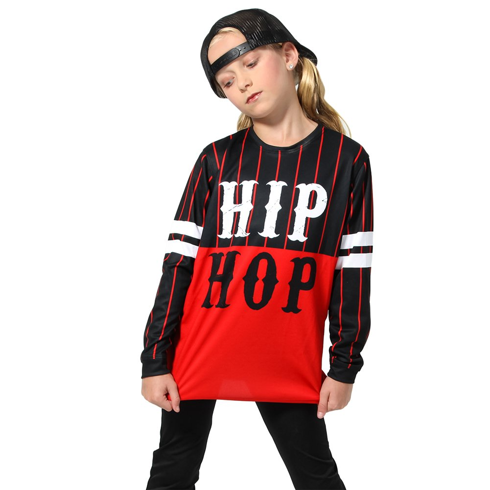Alexandra Collection Youth Hip Hop Long Sleeve Dance Shirt Black/Red 10-12 by Alexandra Collection