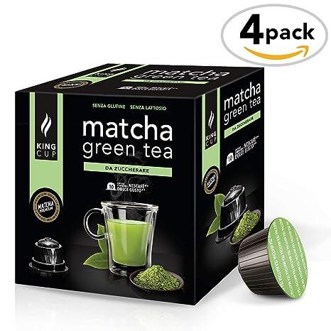 Matcha Green Tea sin azúcar - 4 paquetes de 10 sobres Compatibles con Nescafè* Dolce gusto*® (40 cápsulas)