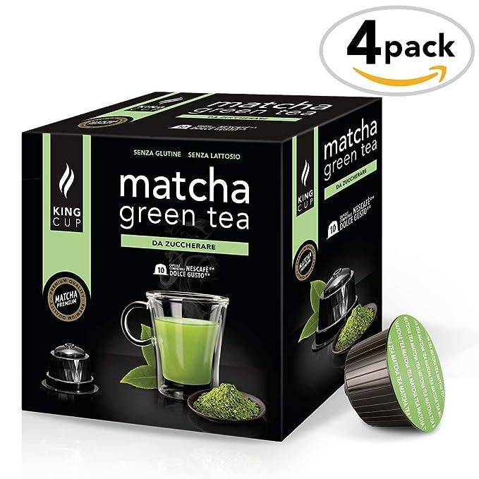 King Cup - Matcha Green Tea sin azúcar - 4 paquetes de 10 sobres Compatibles con