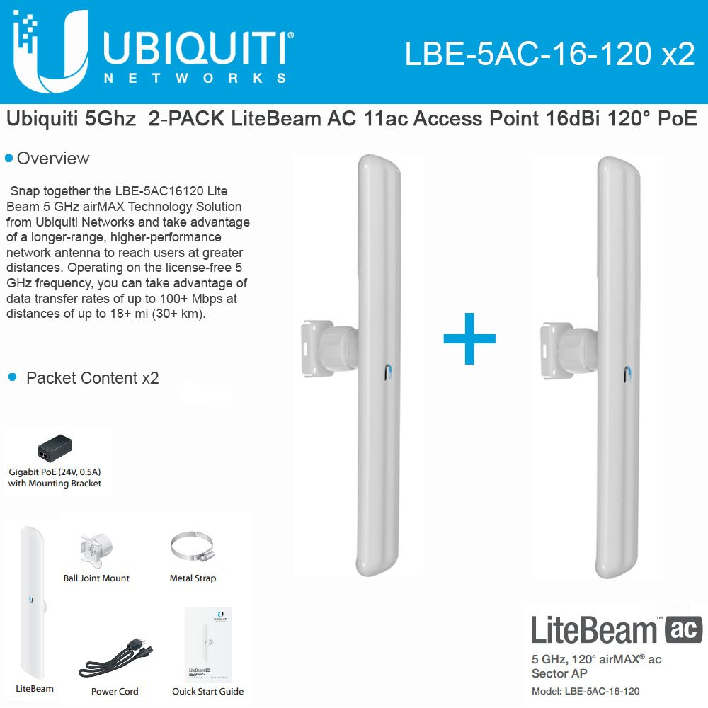 Ubiquiti LBE-5AC-16-120 5GHz 2-PACK LiteBeam AC 11ac Access Point 16dBi 120° PoE by Ubiquiti Networks