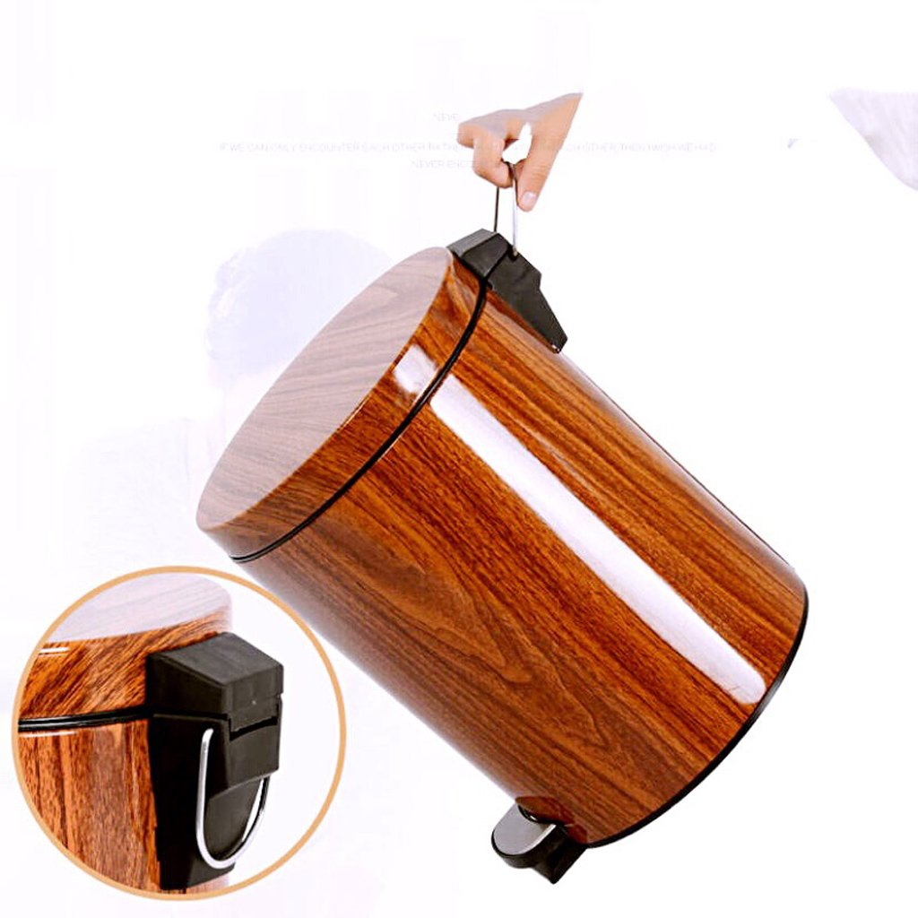 Imitation Wood Grain Trash Can, Kitchen Covered Living Room Trash Can - Bathroom Foot-Mount Home Mute (Size : 9L) by Trash can kitchen trash can small trash can bathro (Image #4)