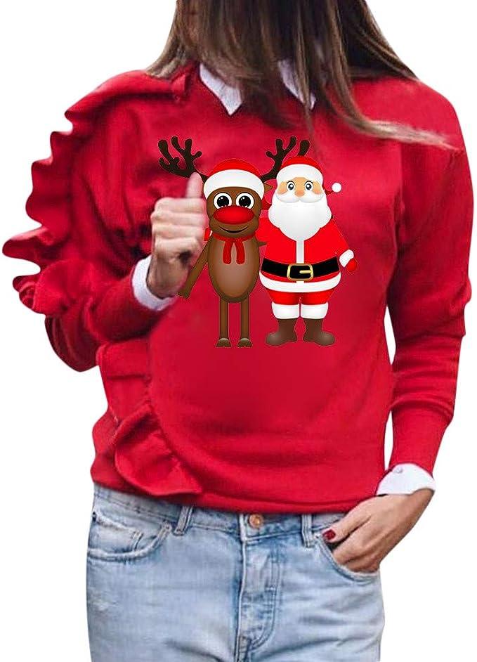 Pull de Noel Femme Rouge Vintage Koly Christmas Sweatshirt col Rond Retro Pullover Tops Hiver T-Shirt Femmes Dames Chemisier Hauts /à Manches Longues imprim/é p/ère No/ël et cerf V/êtements Noel Femme