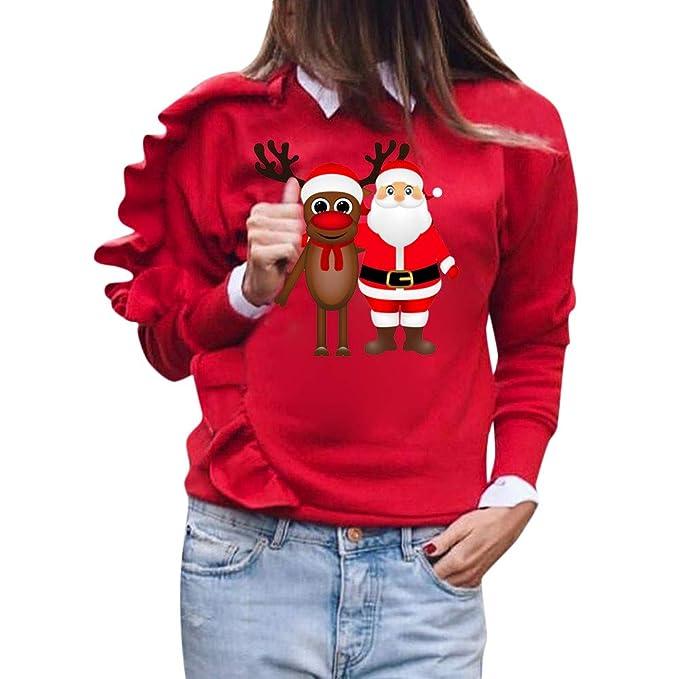 Logobeing Sudaderas Mujer Navidad Ciervos Navideños Sudadera Camisa de Manga Larga Mujer Sudaderas Jersey SuéTer Blusa: Amazon.es: Ropa y accesorios