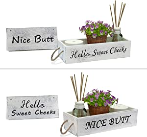 Nice Butt Bathroom Décor Box Funny Bathroom Signs 2 Sides - Funny Gift, Funny Toilet Paper Holder Perfect for Farmhouse Bathroom Decor, Toilet Paper Storage, or Rustic Bathroom Decor