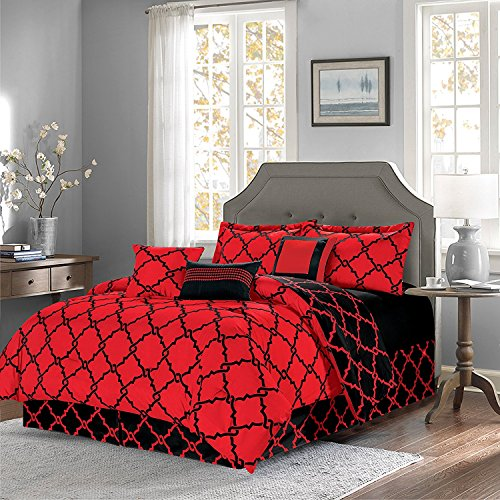 EMPIRE Oversized Reversible 11-Piece Geometric Comforter Set Modern Bedding - Overstock Sale (Red & Black, Queen) ()