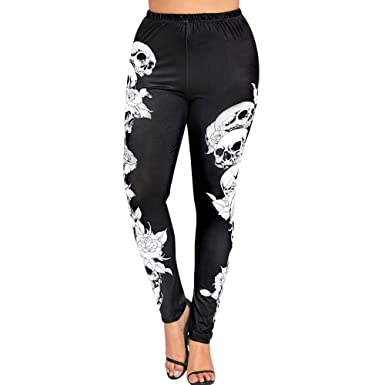8123869f1dc Amazon.com  ZOMUSAR Fashion Women Plus Size High Waist Yoga Sport Pants  Monochrome Skulls Leggings Blue  Clothing