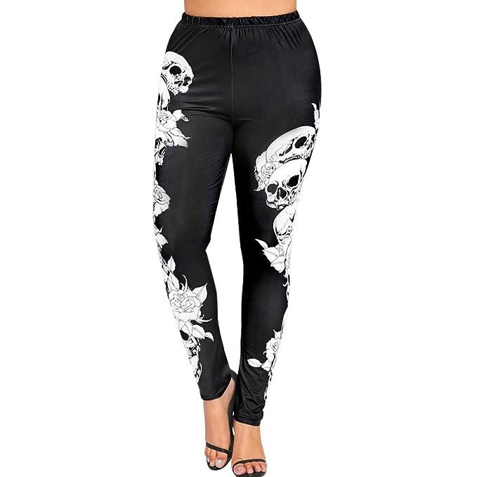 ZOMUSAR Fashion Women Plus Size High Waist Yoga Sport Pants Monochrome Skulls Leggings